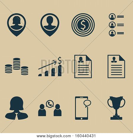 Set Of 12 Management Icons. Can Be Used For Web, Mobile, UI And Infographic Design. Includes Elements Such As Coins, Applicants, Career And More.