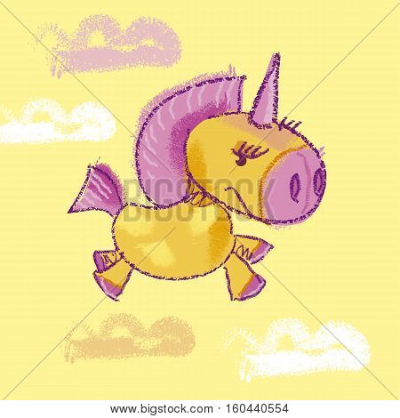 vector illustration of kiddy unicorn in the sky