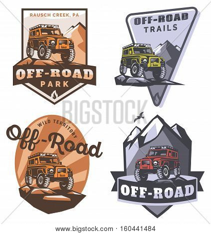 Set of off-road suv car monochrome logo emblems and badges isolated on white background. Rock crawler car in mountains. Off-roading trip emblems 4x4 extreme club emblems.