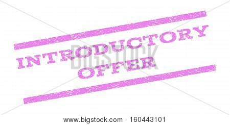 Introductory Offer watermark stamp. Text caption between parallel lines with grunge design style. Rubber seal stamp with dirty texture. Vector violet color ink imprint on a white background.