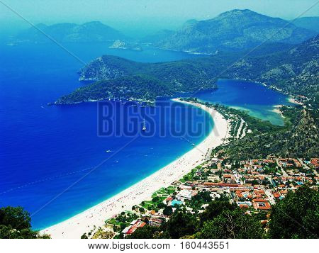 mediterranean sea landscape view of oludeniz beach coast and mountains