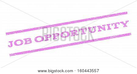Job Opportunity watermark stamp. Text caption between parallel lines with grunge design style. Rubber seal stamp with dirty texture. Vector violet color ink imprint on a white background.