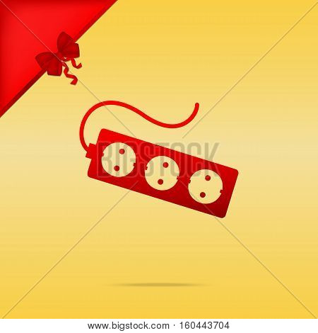 Electric Extension Plug Sign. Cristmas Design Red Icon On Gold B