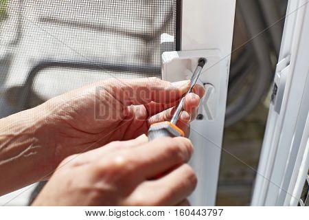 Door lock installation.