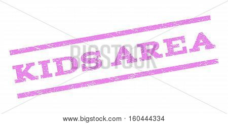 Kids Area watermark stamp. Text tag between parallel lines with grunge design style. Rubber seal stamp with scratched texture. Vector violet color ink imprint on a white background.