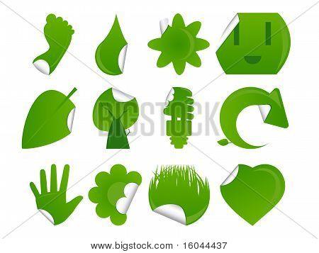 Green Sticker Icon Set