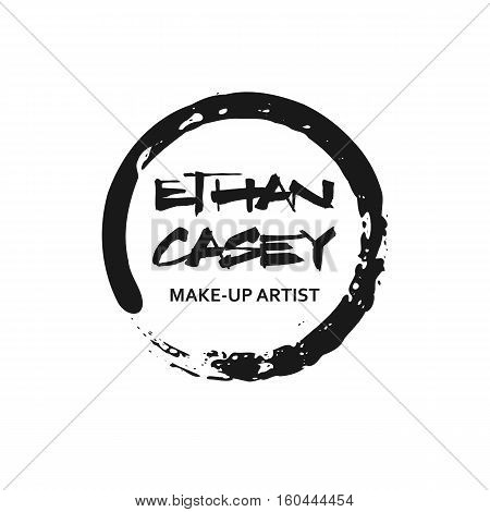 Makeup Artist design logo template. Handdrawn black mascara texture frame isolated on white background. Creative fashion stylist emblem. Perfect for logotype and business card.