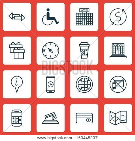Set Of 16 Airport Icons. Can Be Used For Web, Mobile, UI And Infographic Design. Includes Elements Such As Paralyzed, Exchange, Map And More.