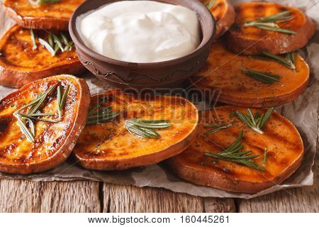 Grilled Sweet Potatoes With Sour Cream Closeup. Horizontal