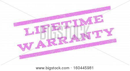 Lifetime Warranty watermark stamp. Text caption between parallel lines with grunge design style. Rubber seal stamp with unclean texture. Vector violet color ink imprint on a white background.
