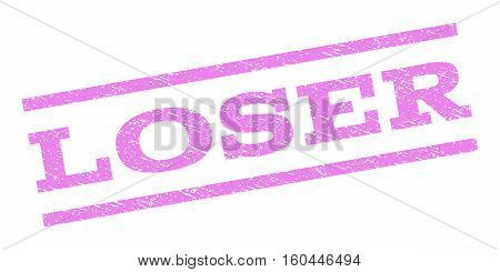 Loser watermark stamp. Text caption between parallel lines with grunge design style. Rubber seal stamp with scratched texture. Vector violet color ink imprint on a white background.