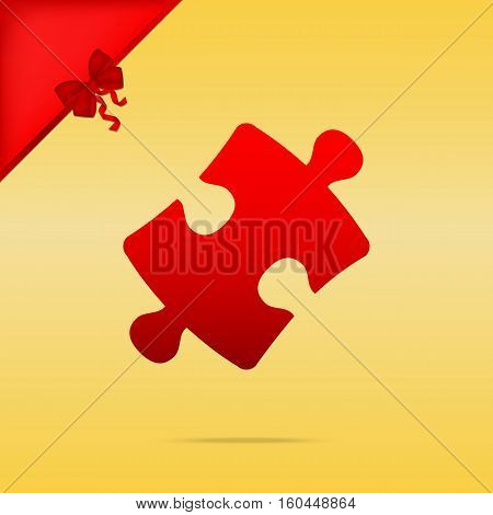Puzzle Piece Sign. Cristmas Design Red Icon On Gold Background.