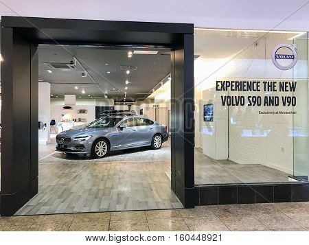 SHEFFIELD ENGLAND - NOVEMBER 29: Volvo pop up shop showcasing Volvo S90 at Sheffield Meadowhall Centre. In Sheffield South Yorkshire England. On 29th November 2016.