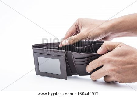 A Closeup to An Empty Wallet with human hand