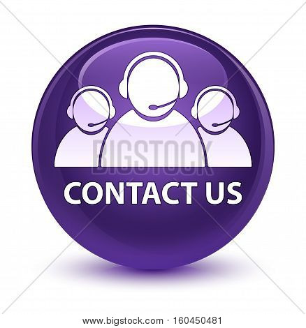 Contact Us (customer Care Team Icon) Glassy Purple Round Button