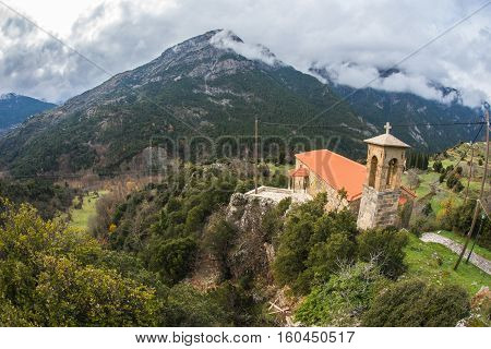 Small Church At  Side Of Road On Peloponnese In Greece