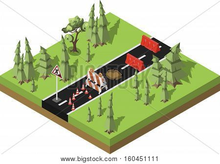 Road repair, under construction forest road, maintenance and construction of pavement. Isometric vector illustration