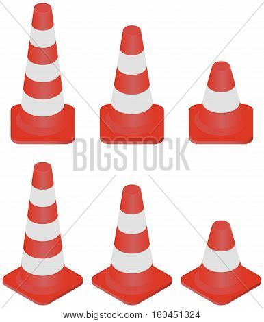 Isometric different size of Traffic Cones collection isolated on white. Traffic Cones set.