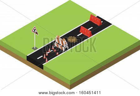 Road repair, under construction city road, maintenance and construction of pavement. Isometric vector illustration