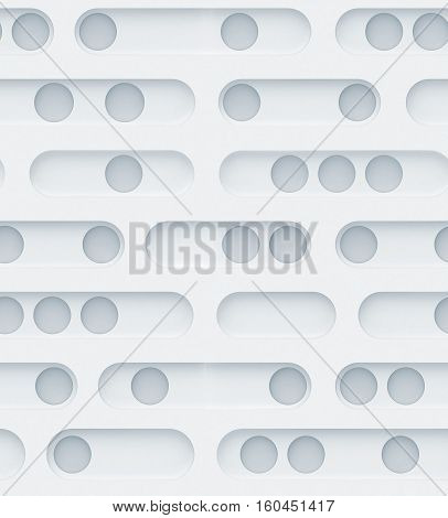 Seamless 3d texture. Perforated circles inside the elongated rounded shapes on a white background.