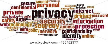 Privacy word cloud concept. Vector illustration on white