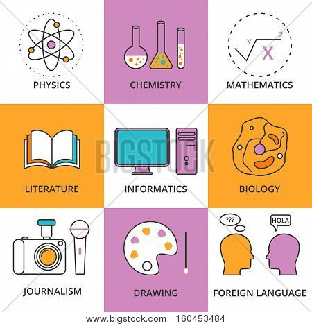 Stock Vector Linear icon school lessons. Stock vector