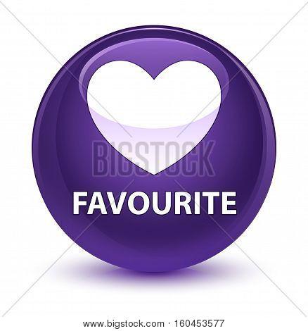 Favourite (heart Icon) Glassy Purple Round Button