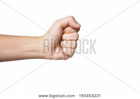 punch Asian handfuls with white background, five fingers