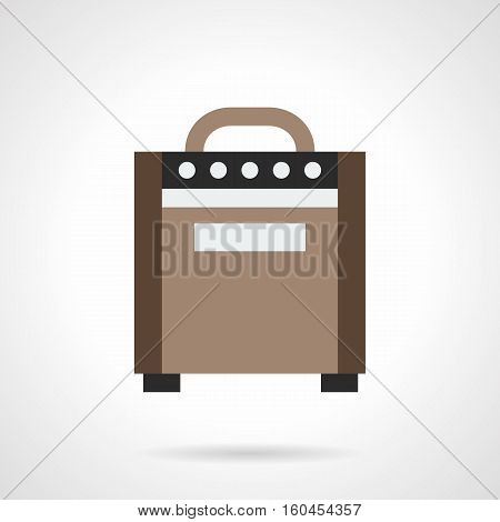 Symbol of electronic amplifier for guitar. Professional music equipment for sound amplification on stage, tone control. Performance rock concerts. Flat color style vector icon.