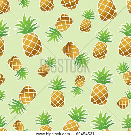 Golden pineaple with white stroke seamless pattern on light green background vector illustration
