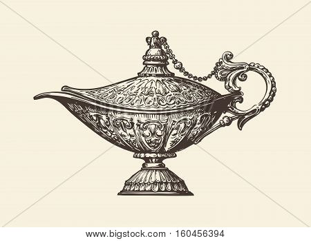 Oil lamp sketch. Hand drawn vintage vector illustration