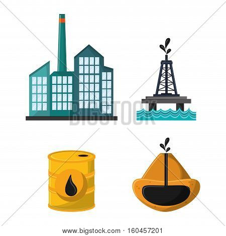 truck oil pump tower oil industry production petroleum icon, vector illustration