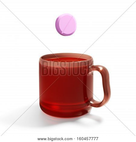 Most symbolic tablet (vitamins, aspirin, and others) and a mug with a drink (tea, juice, etc.). 3D rendering.