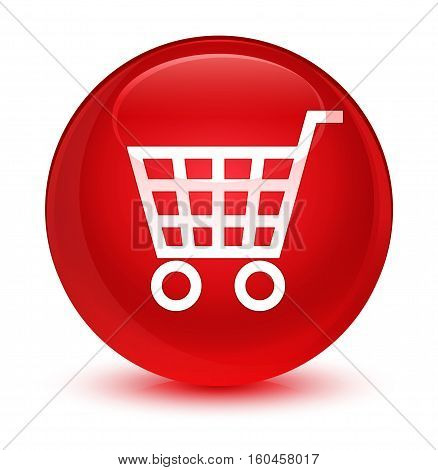Ecommerce Icon Glassy Red Round Button