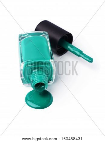 Green Or Teal Poured Nail Polish