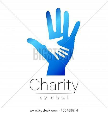 Vector illustration. Symbol of Charity. Sign hand isolated on white background.Blue Icon company, web, card, print. Modern bright element. Charity for orphans Help kids campaign. Family children image