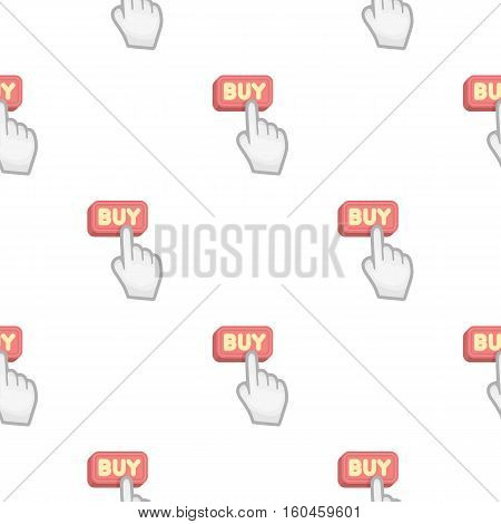 Buying click icon in cartoon style isolated on white background. E-commerce symbol vector illustration.