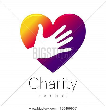 Vector illustration. Symbol of Charity. Sign hand heart isolated on white background.Violet Icon company, web, card. Modern bright element. Charity for orphans Help kids campaign. Family children image