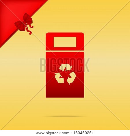 Trashcan Sign Illustration. Cristmas Design Red Icon On Gold Bac