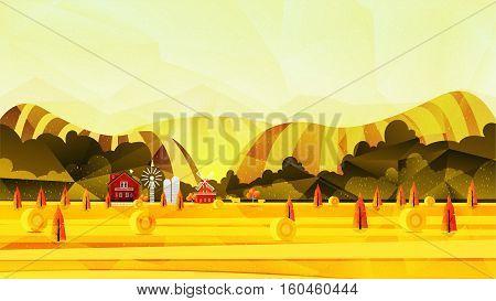 Farm, rural landscape vector background illustration for your design