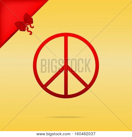 Peace Sign Illustration. Cristmas Design Red Icon On Gold Backgr