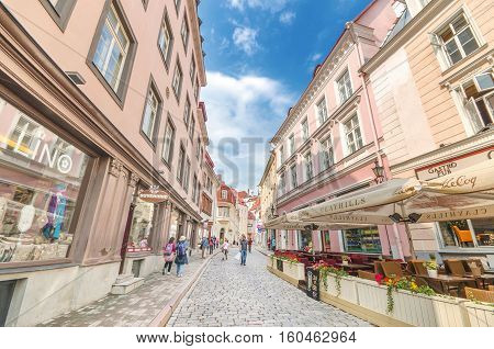 TALLINN ESTONIA - JUNE 29: Popular street in old town. Some tourists are walking in a typical shopping street in the historical part of city on June 29 2013 in Tallinn Estonia.