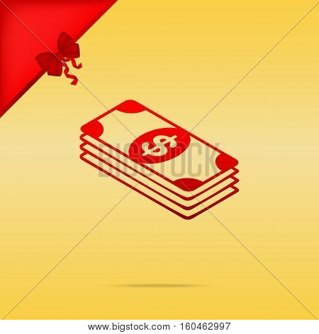 Bank Note Dollar Sign. Cristmas Design Red Icon On Gold Backgrou