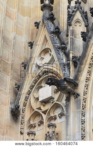 Gargoyles in St. Vitus Cathedral in Prague, Czech Republic