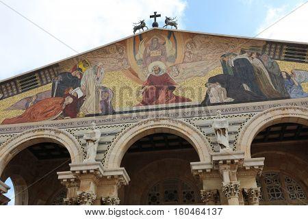Jerusalem, Israel - November 2 , 2016: Church of All Nations (Basilica of the Agony) on the Mount of Olives. Jerusalem. Israel