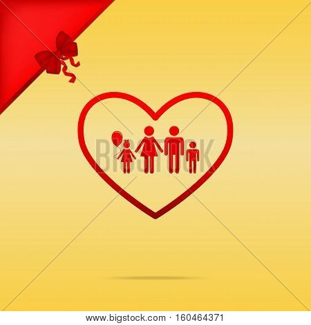 Family Sign Illustration In Heart Shape. Cristmas Design Red Ico