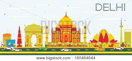 Delhi Skyline with Color Buildings and Blue Sky. Vector Illustration. Business Travel and Tourism Concept with Historic Architecture. Image for Presentation, Banner, Placard.