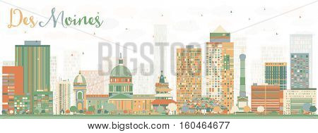 Abstract Des Moines Skyline with Color Buildings. Vector Illustration. Business Travel and Tourism Concept with Historic Architecture. Image for Presentation Banner Placard and Web Site