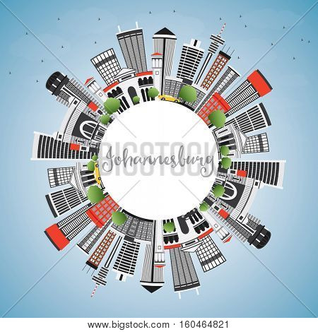 Johannesburg Skyline with Gray Buildings, Blue Sky and Copy Space. Vector Illustration. Business Travel and Tourism Concept with Modern Architecture. Image for Presentation and Banner.