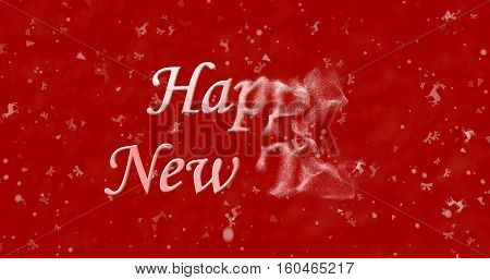 Happy New Year Text Turns To Dust From Right On Red Background